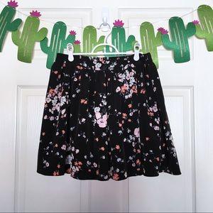 LC Lauren Conrad Flirty Black Floral Skater Skirt